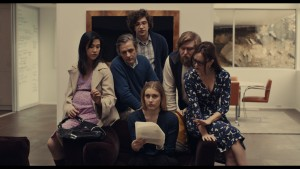 """(L-R) Cindy Cheung as """"Karen,"""" Dean Wareham as """"Harold,"""" Matthew Shear as """"Tony,"""" Greta Gerwig as """"Brooke,"""" Michael Chernus as """"Dylan,"""" and Heather Lind as """"Mamie-Claire"""" in MISTRESS AMERICA. Photo courtesy of Fox Searchlight Pictures © 2015 Twentieth Century Fox Film Corporation All Rights Reserved"""