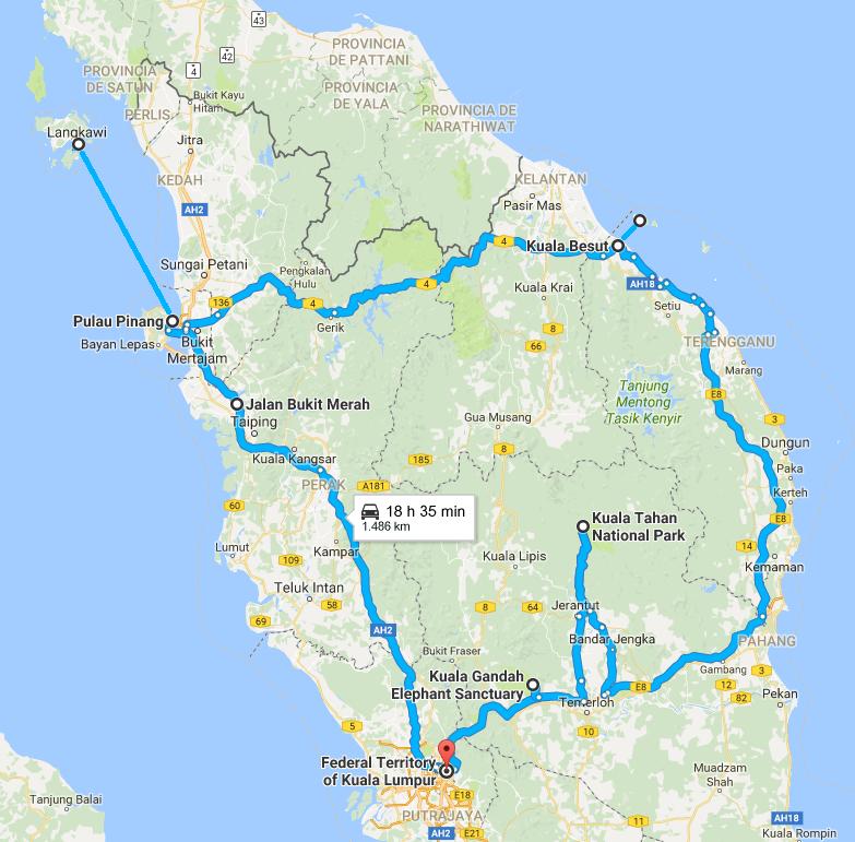 mapa e itinerario de malasia